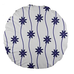Geometric Flower Seamless Repeating Pattern With Curvy Lines Large 18  Premium Flano Round Cushions