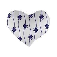 Geometric Flower Seamless Repeating Pattern With Curvy Lines Standard 16  Premium Flano Heart Shape Cushions