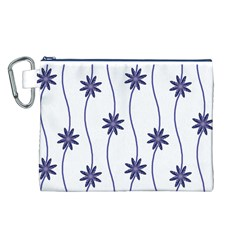 Geometric Flower Seamless Repeating Pattern With Curvy Lines Canvas Cosmetic Bag (L)