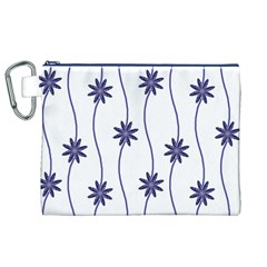 Geometric Flower Seamless Repeating Pattern With Curvy Lines Canvas Cosmetic Bag (XL)