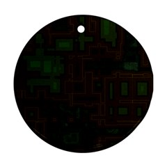Circuit Board A Completely Seamless Background Design Ornament (round)