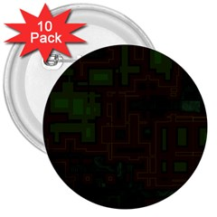 Circuit Board A Completely Seamless Background Design 3  Buttons (10 Pack)