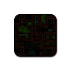 Circuit Board A Completely Seamless Background Design Rubber Square Coaster (4 pack)