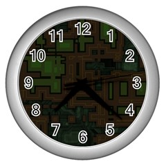 Circuit Board A Completely Seamless Background Design Wall Clocks (silver)