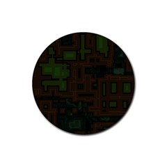 Circuit Board A Completely Seamless Background Design Rubber Round Coaster (4 Pack)
