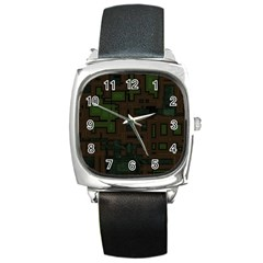 Circuit Board A Completely Seamless Background Design Square Metal Watch