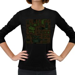 Circuit Board A Completely Seamless Background Design Women s Long Sleeve Dark T-Shirts
