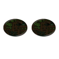 Circuit Board A Completely Seamless Background Design Cufflinks (Oval)