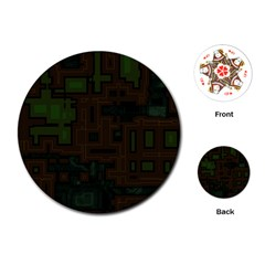 Circuit Board A Completely Seamless Background Design Playing Cards (Round)