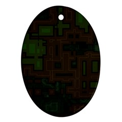 Circuit Board A Completely Seamless Background Design Oval Ornament (Two Sides)