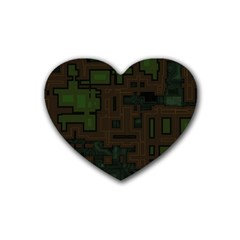Circuit Board A Completely Seamless Background Design Heart Coaster (4 Pack)