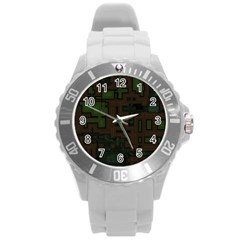 Circuit Board A Completely Seamless Background Design Round Plastic Sport Watch (L)