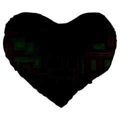 Circuit Board A Completely Seamless Background Design Large 19  Premium Flano Heart Shape Cushions