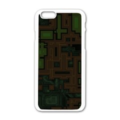 Circuit Board A Completely Seamless Background Design Apple iPhone 6/6S White Enamel Case