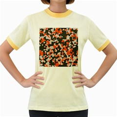 Camouflage Texture Patterns Women s Fitted Ringer T Shirts