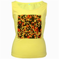 Camouflage Texture Patterns Women s Yellow Tank Top