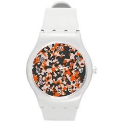 Camouflage Texture Patterns Round Plastic Sport Watch (M)