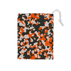 Camouflage Texture Patterns Drawstring Pouches (Medium)