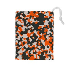 Camouflage Texture Patterns Drawstring Pouches (Large)