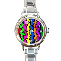 Digitally Created Abstract Squiggle Stripes Round Italian Charm Watch