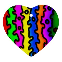 Digitally Created Abstract Squiggle Stripes Ornament (heart)