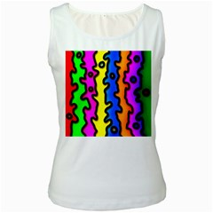 Digitally Created Abstract Squiggle Stripes Women s White Tank Top