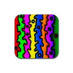 Digitally Created Abstract Squiggle Stripes Rubber Square Coaster (4 pack)
