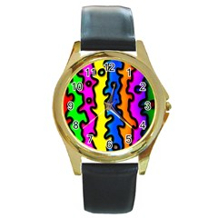 Digitally Created Abstract Squiggle Stripes Round Gold Metal Watch