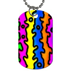 Digitally Created Abstract Squiggle Stripes Dog Tag (Two Sides)