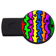 Digitally Created Abstract Squiggle Stripes Usb Flash Drive Round (2 Gb)