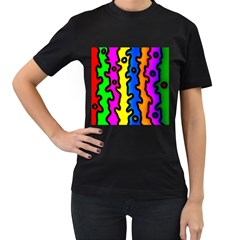 Digitally Created Abstract Squiggle Stripes Women s T-Shirt (Black) (Two Sided)