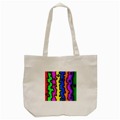 Digitally Created Abstract Squiggle Stripes Tote Bag (cream)