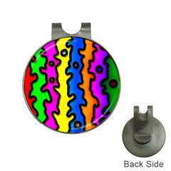 Digitally Created Abstract Squiggle Stripes Hat Clips With Golf Markers