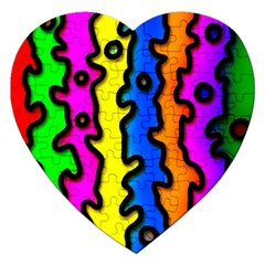 Digitally Created Abstract Squiggle Stripes Jigsaw Puzzle (Heart)