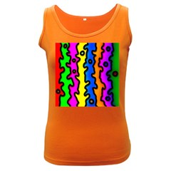 Digitally Created Abstract Squiggle Stripes Women s Dark Tank Top