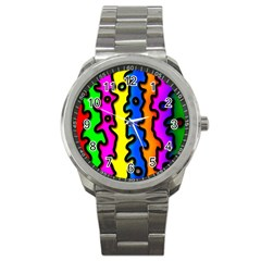 Digitally Created Abstract Squiggle Stripes Sport Metal Watch