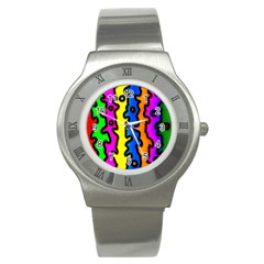 Digitally Created Abstract Squiggle Stripes Stainless Steel Watch