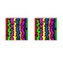 Digitally Created Abstract Squiggle Stripes Cufflinks (Square)