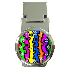 Digitally Created Abstract Squiggle Stripes Money Clip Watches