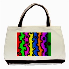 Digitally Created Abstract Squiggle Stripes Basic Tote Bag