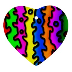 Digitally Created Abstract Squiggle Stripes Heart Ornament (two Sides)