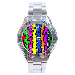 Digitally Created Abstract Squiggle Stripes Stainless Steel Analogue Watch