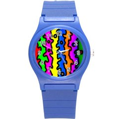 Digitally Created Abstract Squiggle Stripes Round Plastic Sport Watch (S)