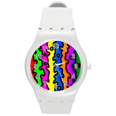 Digitally Created Abstract Squiggle Stripes Round Plastic Sport Watch (M)