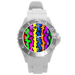 Digitally Created Abstract Squiggle Stripes Round Plastic Sport Watch (L)