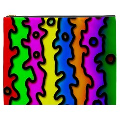 Digitally Created Abstract Squiggle Stripes Cosmetic Bag (XXXL)