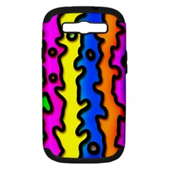 Digitally Created Abstract Squiggle Stripes Samsung Galaxy S III Hardshell Case (PC+Silicone)