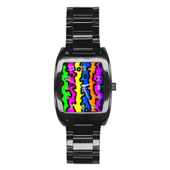 Digitally Created Abstract Squiggle Stripes Stainless Steel Barrel Watch