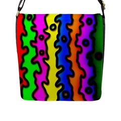 Digitally Created Abstract Squiggle Stripes Flap Messenger Bag (L)