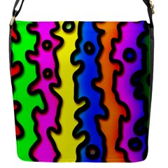 Digitally Created Abstract Squiggle Stripes Flap Messenger Bag (s)